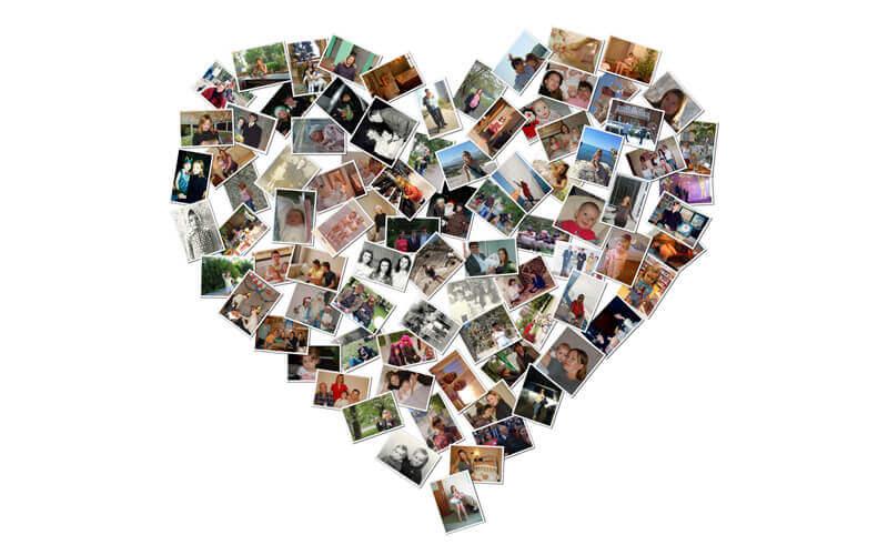 Коллаж из фотографий в виде сердца