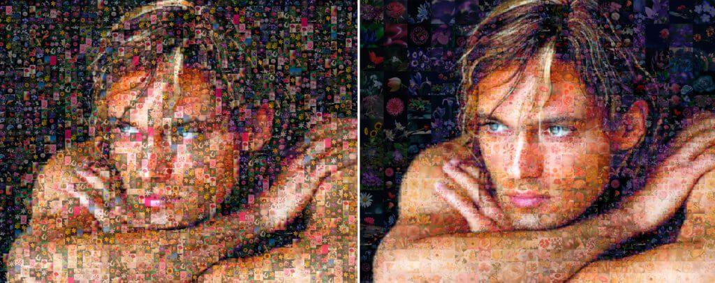 Расположение и размер плиток портрета из фотографий