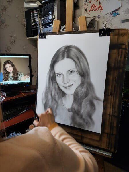 Прорисовка деталей и теней портрета