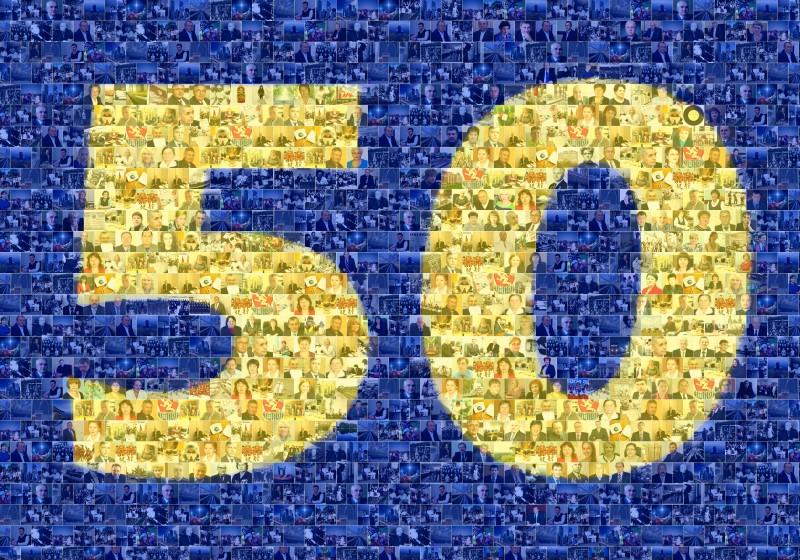 Фотомозаика в виде цифры 50