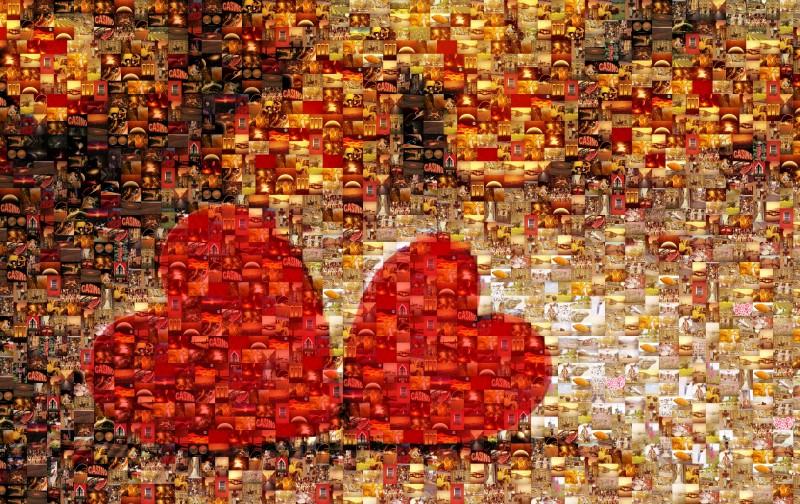 Мозаика из фотографий в виде сердец