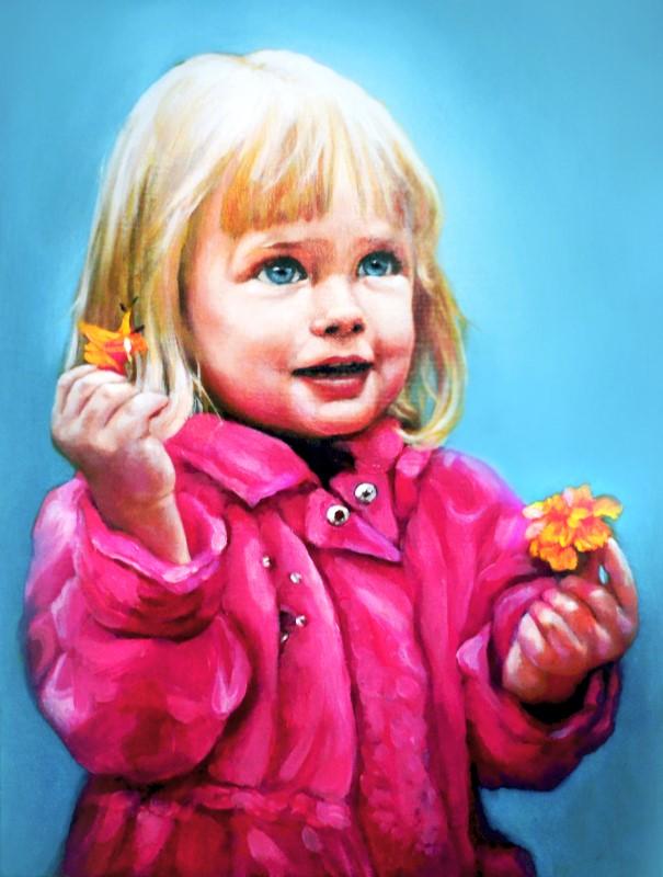 Портрет девочки на заказ, масло, холст