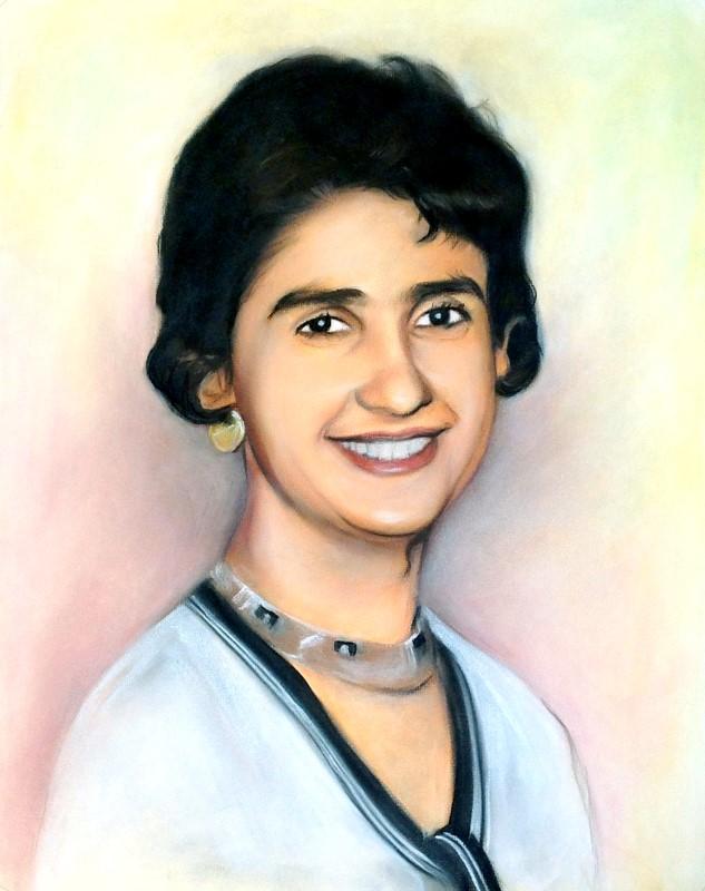 Женский цветной портрет, пастель