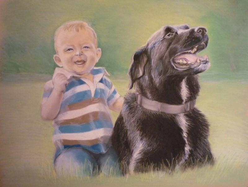 Портрет мальчика с собакой, пастель