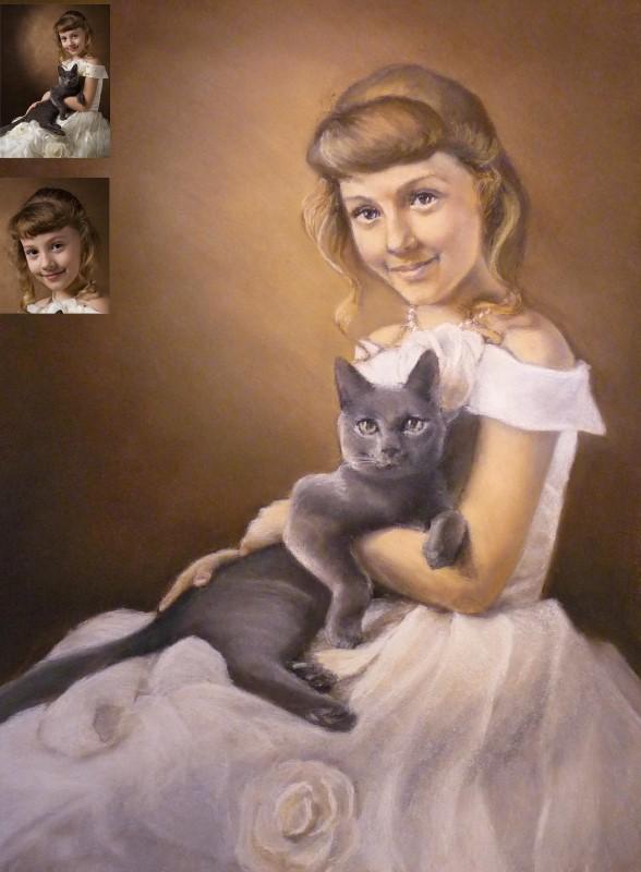 Портрет девочки пастелью