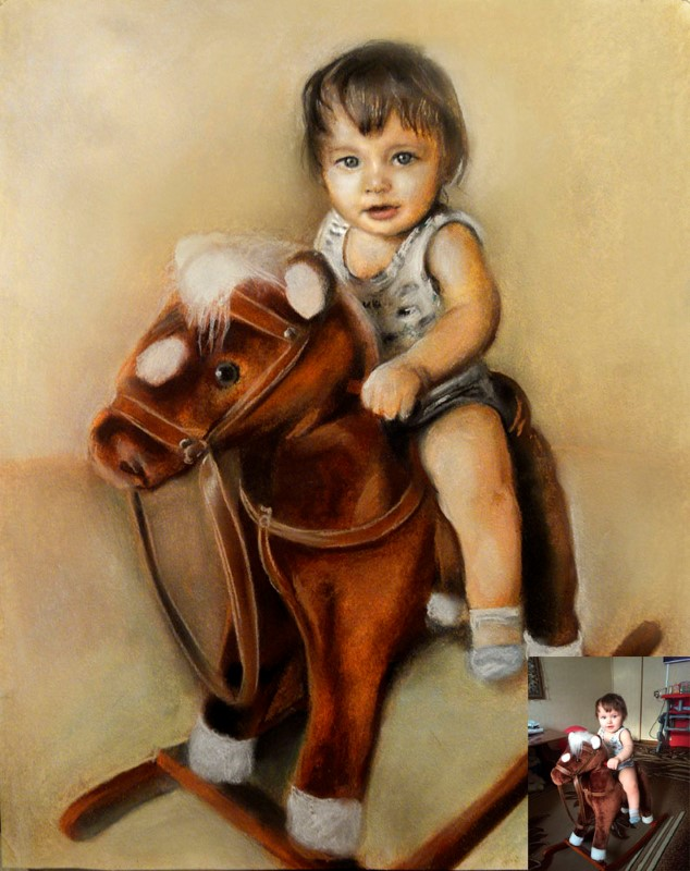 Портрет ребенка на лошадке, пастель, цветной