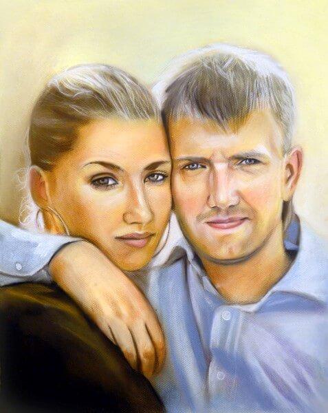Портрет пастелью парный