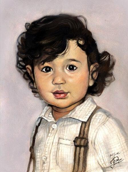 Портрет мальчика пастелью