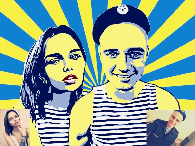 парный портрет в стиле Pop-art