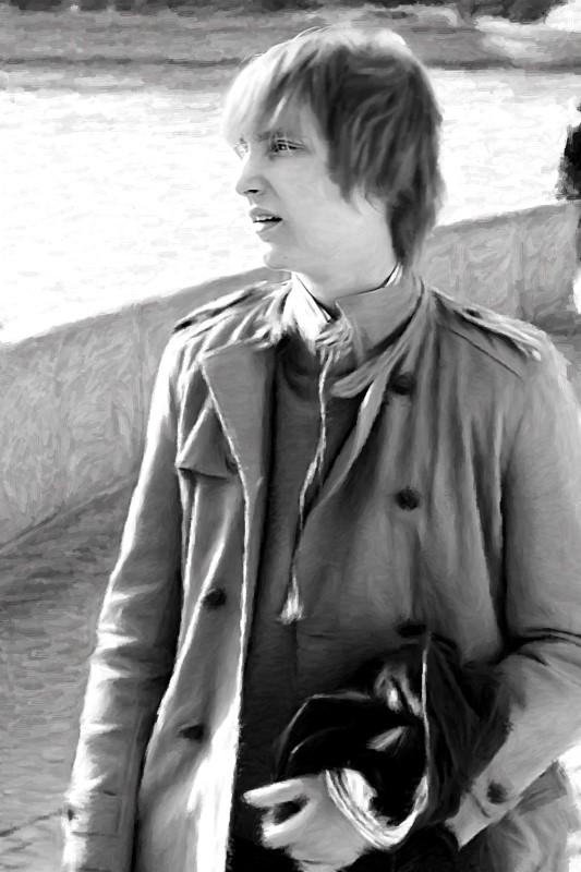 Черно-белый портрет молодого человека, стилизация