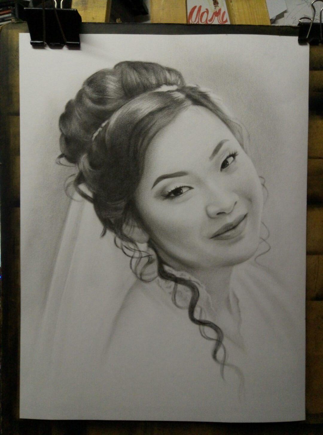 Портрет девушки сухая кисть