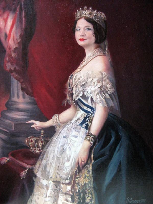 Женский портрет в образе, монтаж в картину