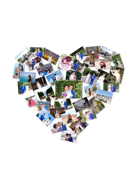 Сердце из фоток на холсте