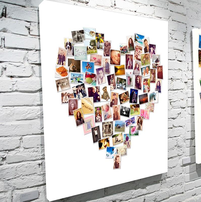 Фотоколллаж сердце из фотографий на холсте