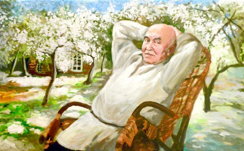 Портрет пожилого человека по фотографии, масло
