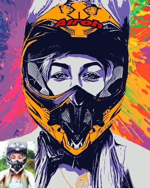 Поп-арт портрет в шлеме