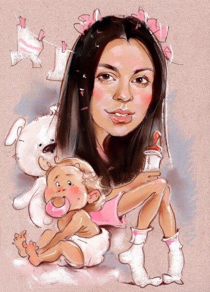 шарж по фото молодая мама