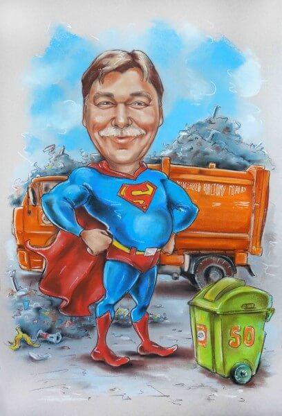 шарж по фото Супермен